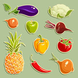Fruits and Vegetables vector set 2 Stock Photo
