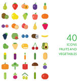 Fruits and vegetables vector set Stock Photo