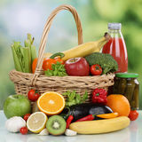 Fruits, vegetables, vegetarian groceries and beverages in a shop Stock Photo