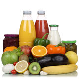 Fruits, vegetables, vegetarian groceries and orange juice drink Stock Image