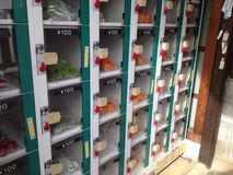 Fruits and vegetables vending machine. A vending machine for fruits and vegetables around Tokyo mostly use by local farmers Royalty Free Stock Photo