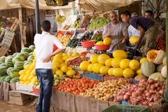 Fruits and vegetables vendor Stock Images