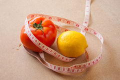Fruits, vegetables, weight loss, and health care Stock Photos