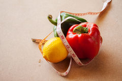 Fruits, vegetables, weight loss, and health care Royalty Free Stock Images