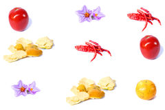 Fruits and vegetables on a white background Stock Photography