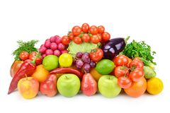 Fruits and vegetables  on a white background. Stock Photos
