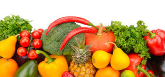 Fruits and vegetables on white background Royalty Free Stock Photography