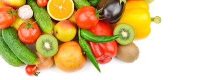 Fruits and vegetables on white background. top view. Fr