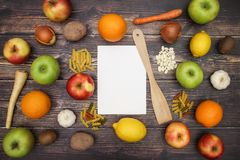 Fruits and vegetables with white paper.  stock images