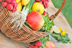 Fruits and vegetables in wicker basket. Fresh organic fruits and vegetables in wicker basket Stock Photos
