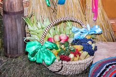 Fruits and vegetables in wicker basket sold at the fair. Royalty Free Stock Photography
