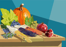 Fruits and vegetables on wooden table. Illustration of autumn fruits and vegetables on wooden table Royalty Free Stock Image