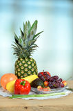 Fruits and Vegetables on Wooden Table Stock Images