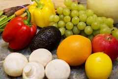 Fruits and Veggies. Fruit and Vegetable Spread on counter Stock Photography