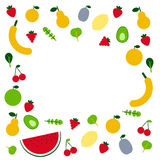 Fruits and veggies. Amazing fruits and veggis flat design template in vector. Healthy food and plant base diet concept. Handdraw lettering text.  For menu Royalty Free Stock Image