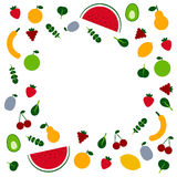 Fruits and veggies. Amazing fruits and veggis flat design template in vector. Healthy food and plant base diet concept. Handdraw lettering text.  For menu Stock Photography