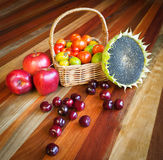 Fruits, veggies, and seeds food composition Stock Photography