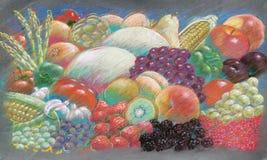 Fruits & vegies pastel drawing vector illustration