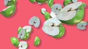 Fruits verts 3D, transitions visuelles de pomme de remorquage d'isolement - longueur 4K illustration libre de droits