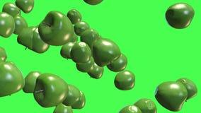Fruits verts 3D, transitions visuelles de pommes de remorquage d'isolement sur un écran vert, longueur 4K illustration de vecteur