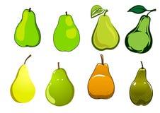 Fruits verts, jaunes et oranges de poire Photo libre de droits