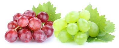 Fruits verts rouges de raisins d'isolement sur le blanc Photos libres de droits