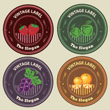 Fruits Vintage Label. Grape, orange, apple, strawberry in vintage label, can be used as logo Stock Photos