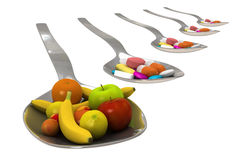 Fruits vs medicine - Isolated Royalty Free Stock Photography
