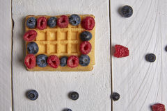 Fruits in a waffle. Different berries on a waffle and in a bowl on a white wooden table Royalty Free Stock Image