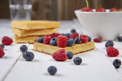 Fruits in a waffle. Different berries on a waffle and in a bowl on a white wooden table Royalty Free Stock Photography