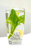 Fruits in the water glass Stock Images