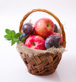 Fruits in wattled basket Royalty Free Stock Photos