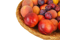 Fruits in wattled basket Royalty Free Stock Photography