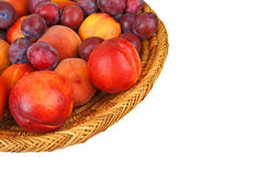 Fruits in wattled basket Royalty Free Stock Image