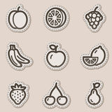 Fruits web icons, brown contour sticker series Stock Images