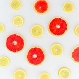 Fruits on white background. Flat lay. stock image