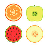 Fruits on a white background. Vector illustration Stock Photos