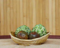 Fruits on the wicker baskets Stock Photography
