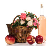 Fruits, wine and flowers Royalty Free Stock Photos