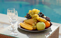 Fruits and wine glasses Royalty Free Stock Photo