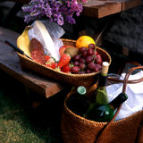 Fruits and wine on picnic table Royalty Free Stock Image