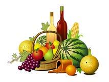 Fruits and wines. Illustration isolated on white background Stock Photo