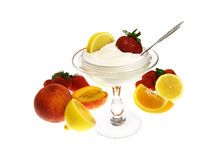 Fruits With Soft Ice Cream Stock Image