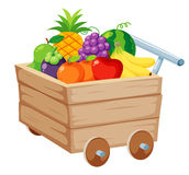Fruits in Wood trolley Stock Photography