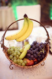 Fruits in wooden basket Royalty Free Stock Image