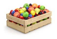 Fruits in wooden crate Stock Photography