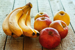Fruits on wooden table royalty free stock photos