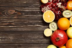 fruits on a wooden table stock photo