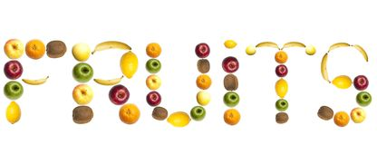Fruits word made of fruits. Fruits word made of mixed fruits Royalty Free Stock Photos