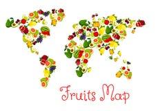 Fruits world map design element Stock Photo